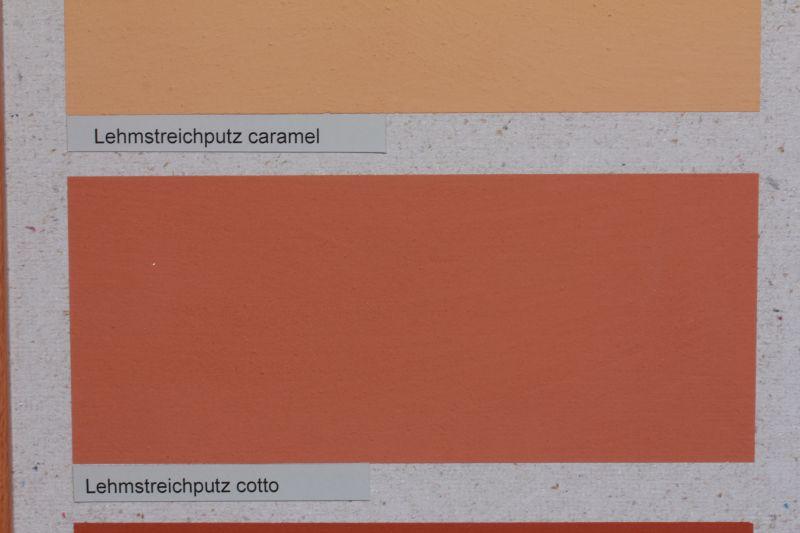 Lehmfarben (im Bild: Lehmstreichputz cotto-farben) sind ökologische Farben mit besten Eigenschaften